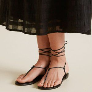 Seed Heritage Black Leather Tie Up Sandals Shoes 38 7.5
